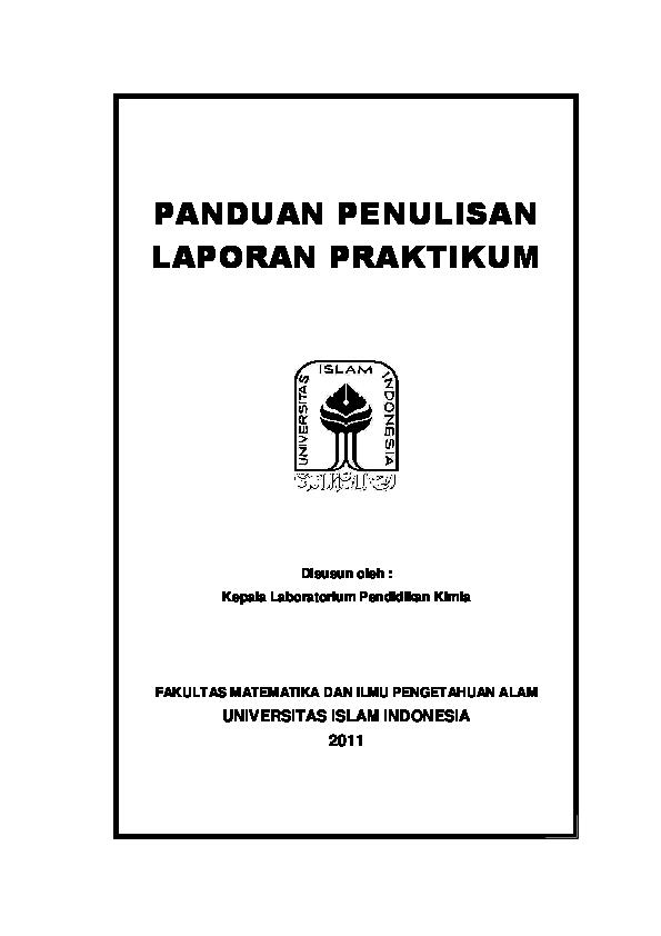 Pdf Panduan Penulisan Laporan Praktikum Fitri Ramdhana Academia Edu