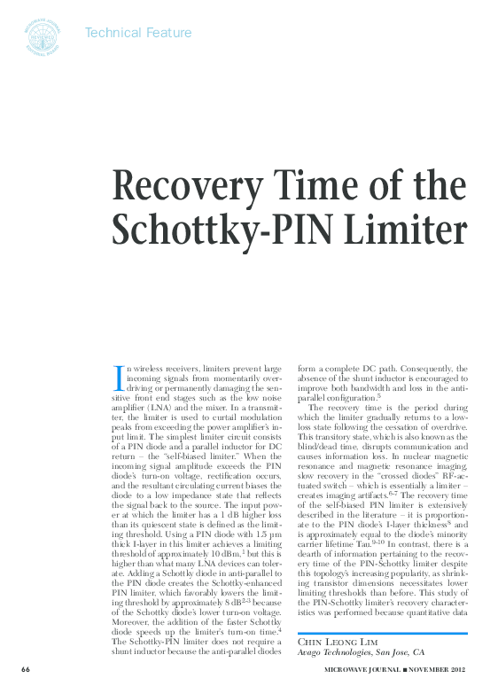 Recovery Time of the Schottky-PIN Limiter | Chin-Leong Lim