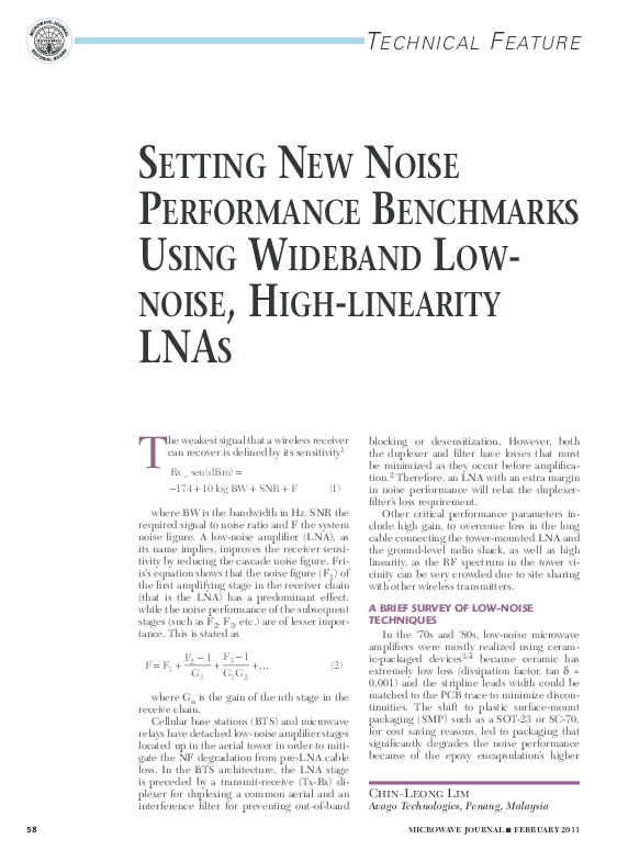 Setting new noise performance benchmarks using wideband low