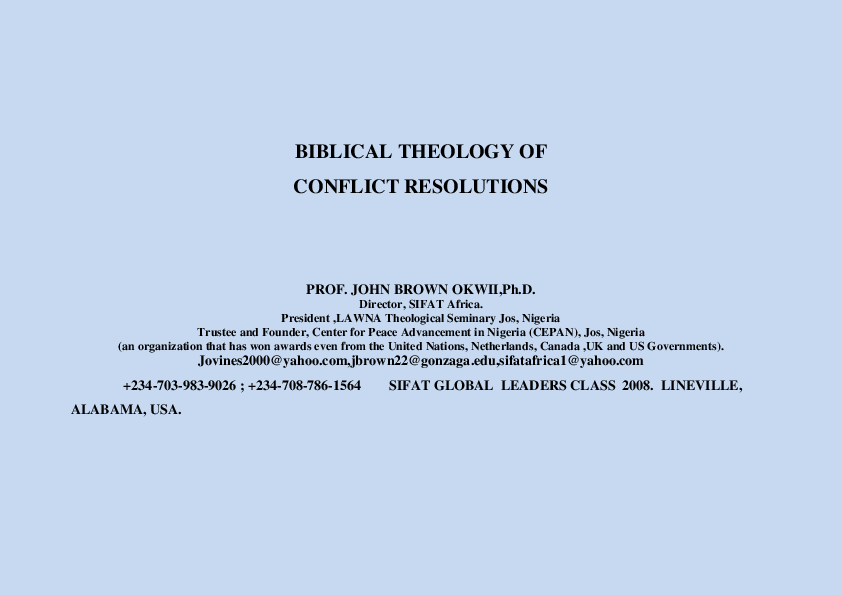 PDF) BIBLICAL THEOLOGY OF CONFLICT | John Brown - Academia edu