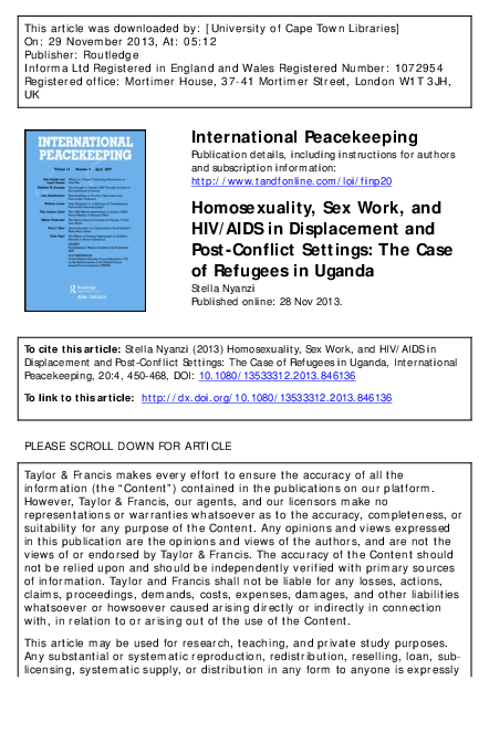 PDF) Homosexuality, Sex Work and HIV/AIDS in Displacement and Post