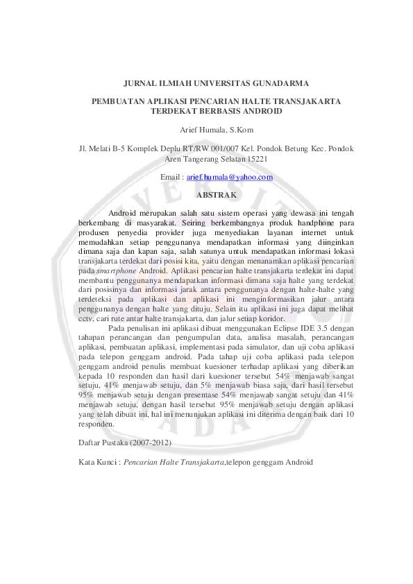 Pdf Jurnal Ilmiah Universitas Gunadarma Hesky Ponongoa Academia Edu