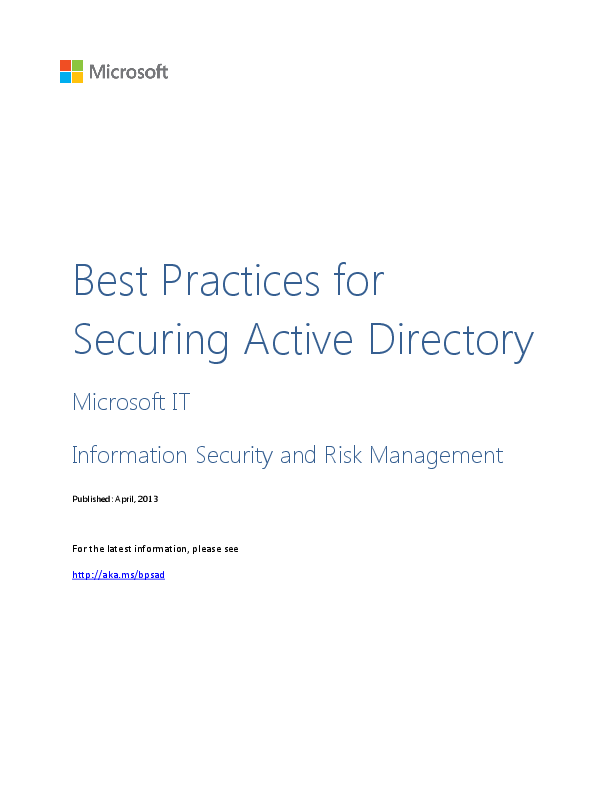 DOC) Best Practices for Securing Active Directory | Can
