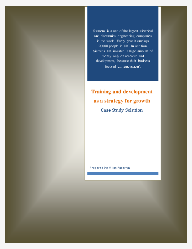PDF) SIEMENS: Training and Development Case Study Solution