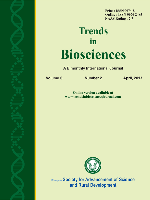 PDF) TRENDS IN BIOSCIENCES JOURNAL 6-2 APRIL 2013 ISSUE