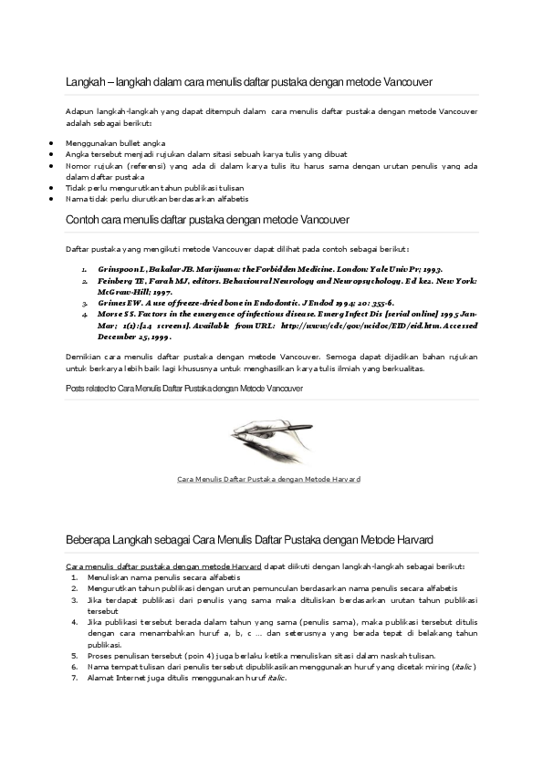 Langkah Penulisan Metode Vancouver Dan Havard Akbar25 Tandauli