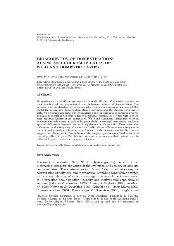 Pdf Bioacoustics Of Domestication Alarm And Courtship Calls Of Wild And Domestic Cavies Patricia Monticelli Academia Edu