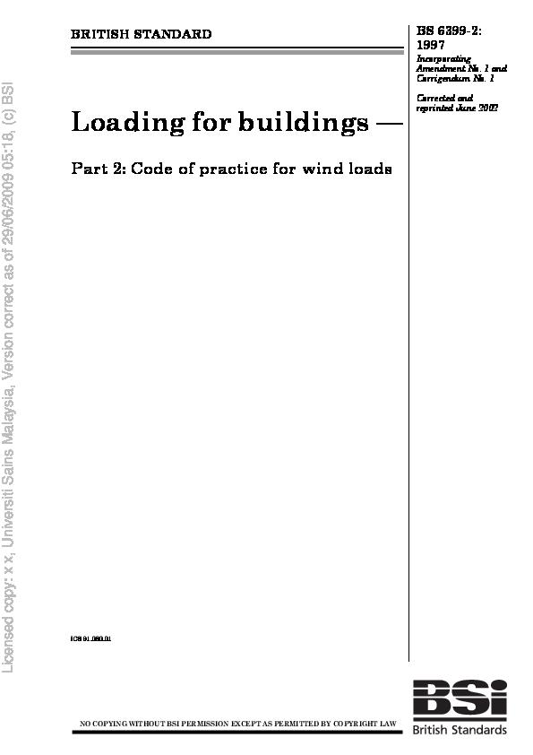PDF) BS 6399 Loading for buildings  Part 2 Wind loads | José García