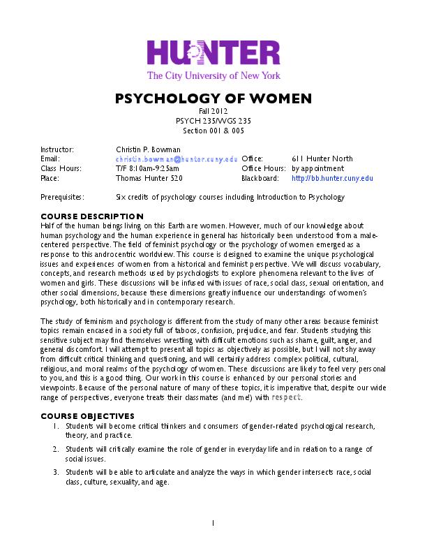 PDF) Syllabus: Psychology of Women | Christin Bowman - Academia edu