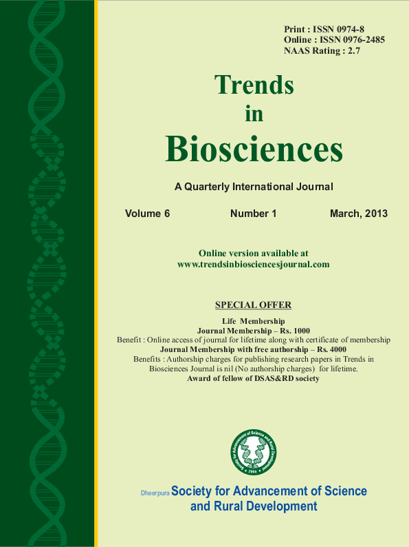 PDF) TRENDS IN BIOSCIENCES JOURNAL 6-1 MARCH ISSUE2013 | TRENDS IN