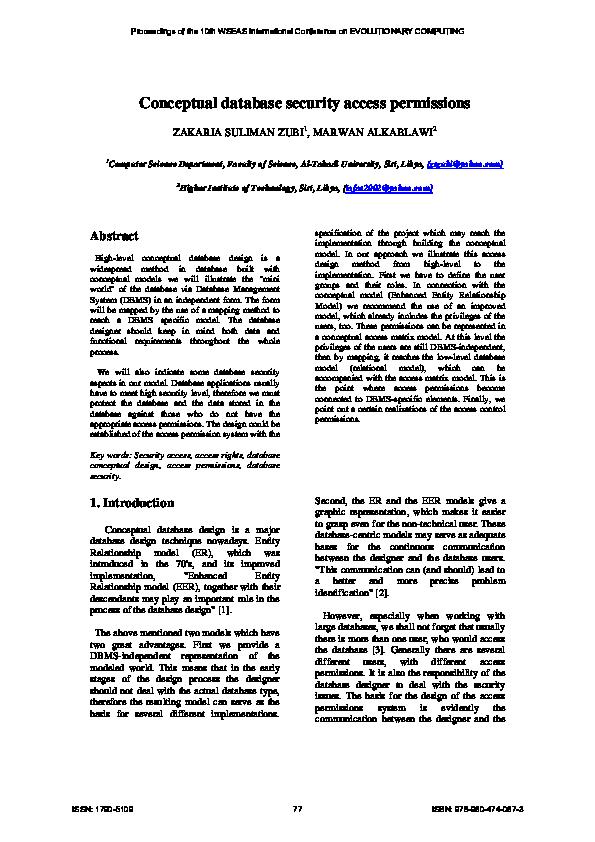 PDF) Conceptual database security access permissions