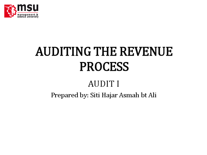 PPT) AUDIT OF SALES AND ACCOUNT RECEIVABLES | Mohd Dani