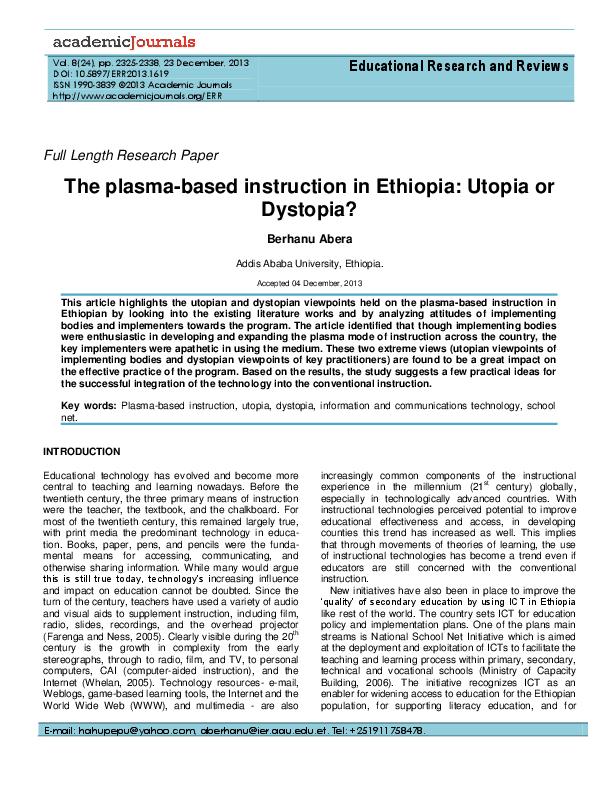 PDF) The Plasma-Channeled Instruction in Ethiopia: Utopia or