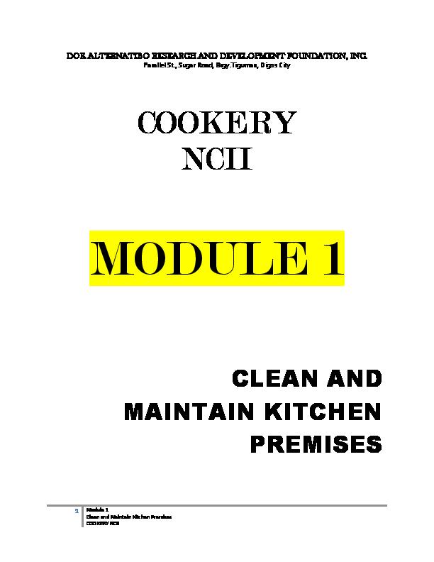 DOC) COOKERY - Module 1   Bong Lacaden - Academia edu