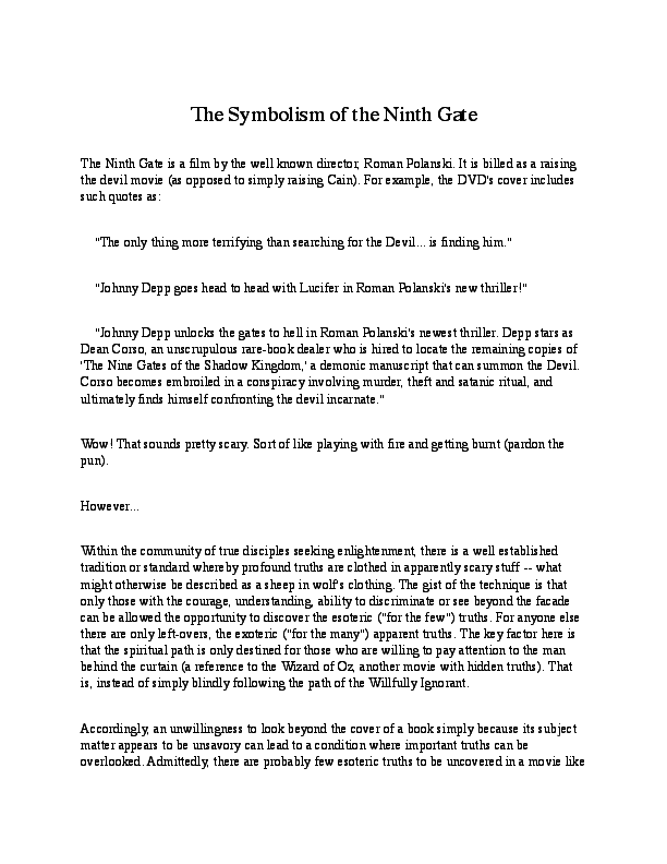 PDF) The Symbolism of the Ninth Gate | Sean Griffin