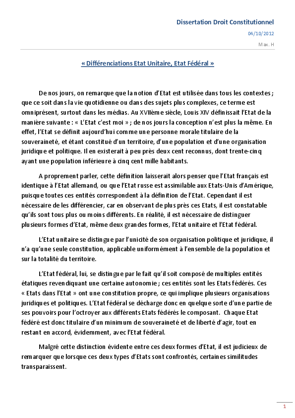 dissertation etat unitaire et décentralisation