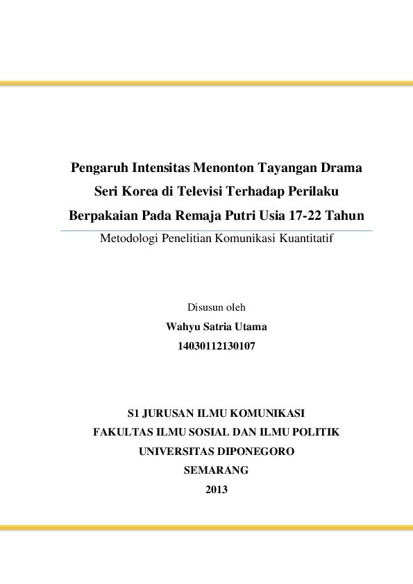 Doc Proposal Metode Penelitian Komunikasi Kuantitatif Wahyu Satria Utama Academia Edu