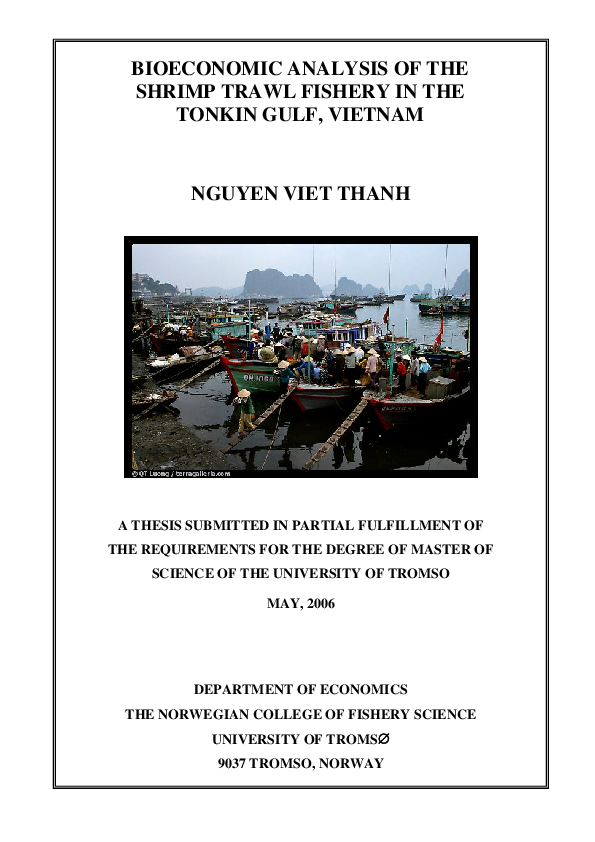 PDF) BIOECONOMIC ANALYSIS OF THE SHRIMP TRAWL FISHERY IN THE TONKIN