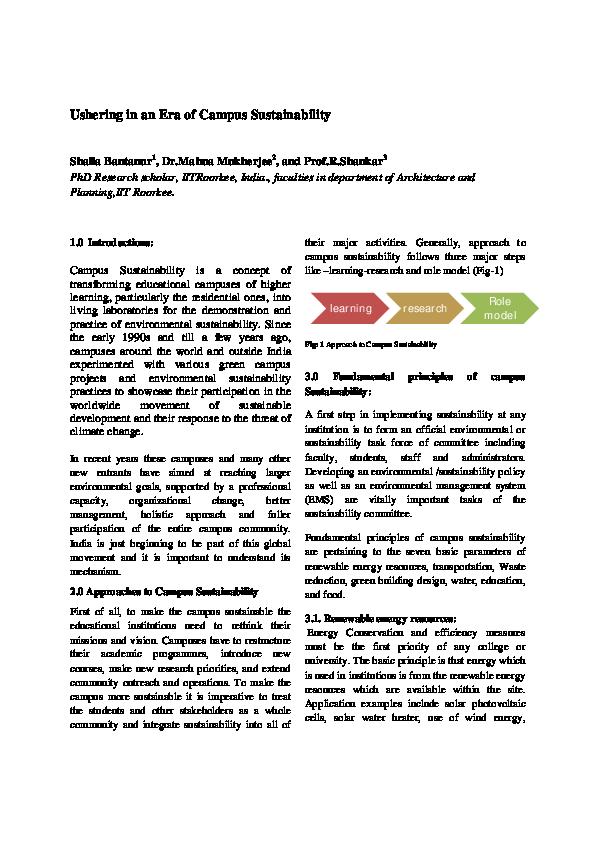 PDF) Ushering in an era of campus sustainability   Shaila Bantanur
