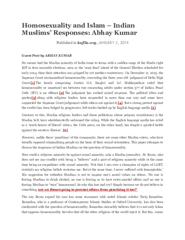 DOC) Homosexuality and Islam – Indian Muslims' Responses