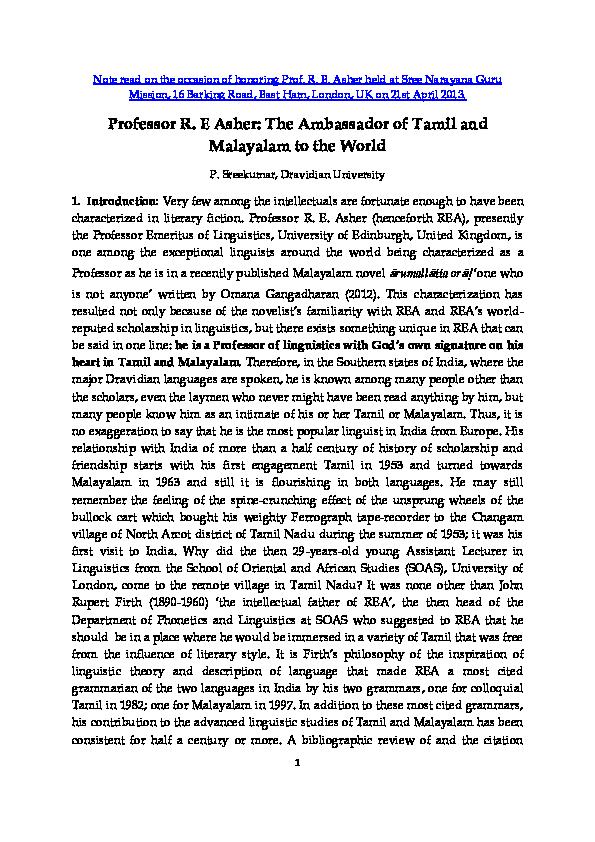 PDF) Professor R  E Asher: The Ambassador of Tamil and Malayalam to