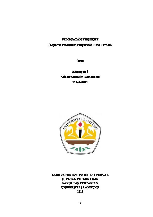 Doc Laporan Praktikum Pembuatan Yoghurt Atikah Zahra Ramadhani Academia Edu