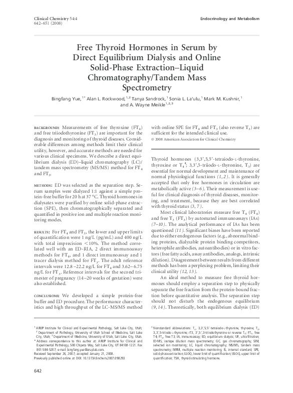 Pdf Free Thyroid Hormones In Serum By Direct Equilibrium Dialysis