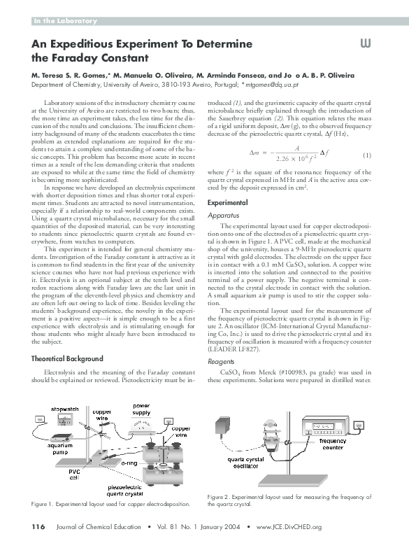 PDF) An Expeditious Experiment To Determine the Faraday