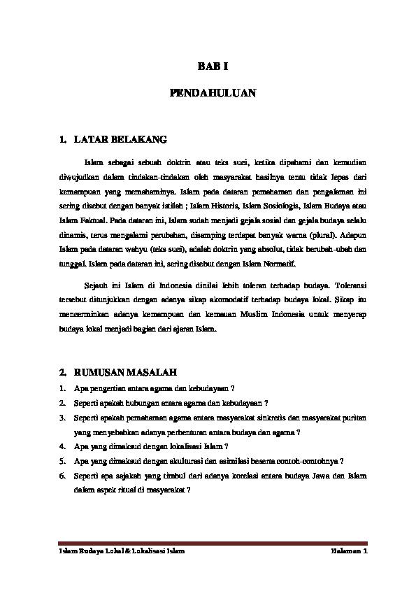 Doc Ibl Islam Budaya Lokal Lokalisasi Islam M Muzaki Academia Edu