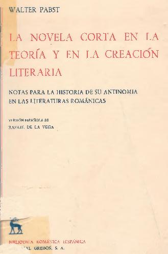 Pdf Pabst Walter La Novela Corta En La Teoria Y En La