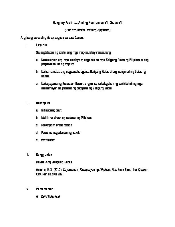 DOC) Banghay-Aralin sa Araling Panlipunan VII Saligang batas