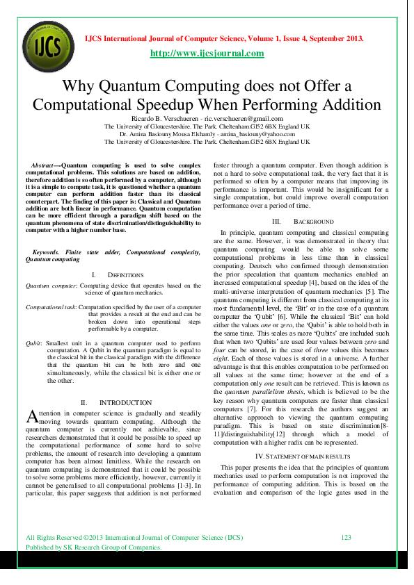 PDF) Why Quantum Computingdoesnot Offera Computational Speedup When