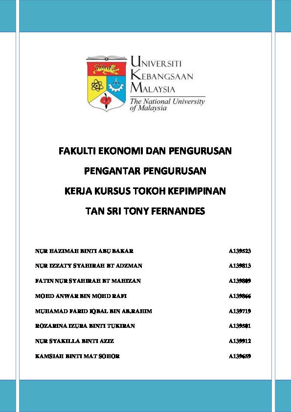 PDF) Tan Sri Tony Fernandes - Air Asia | Kamsiah Mat Sohor