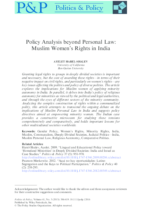 PDF) Policy Analysis beyond Personal Law: Muslim Women's Rights in