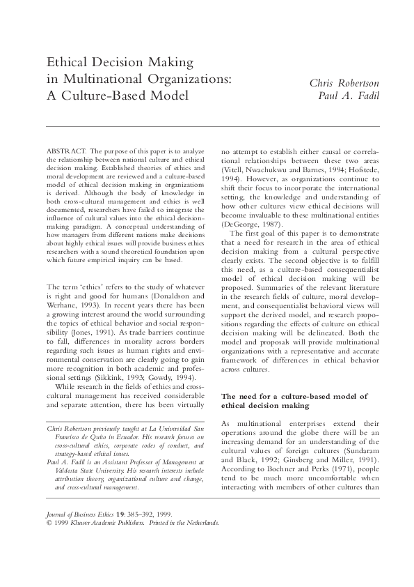 PDF) Ethical Decision Making in Multicultural Organizations