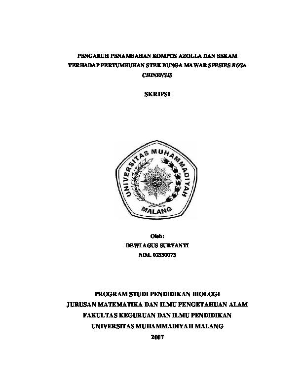 Judul Skripsi Pendidikan Biologi Murni Ide Judul Skripsi Universitas