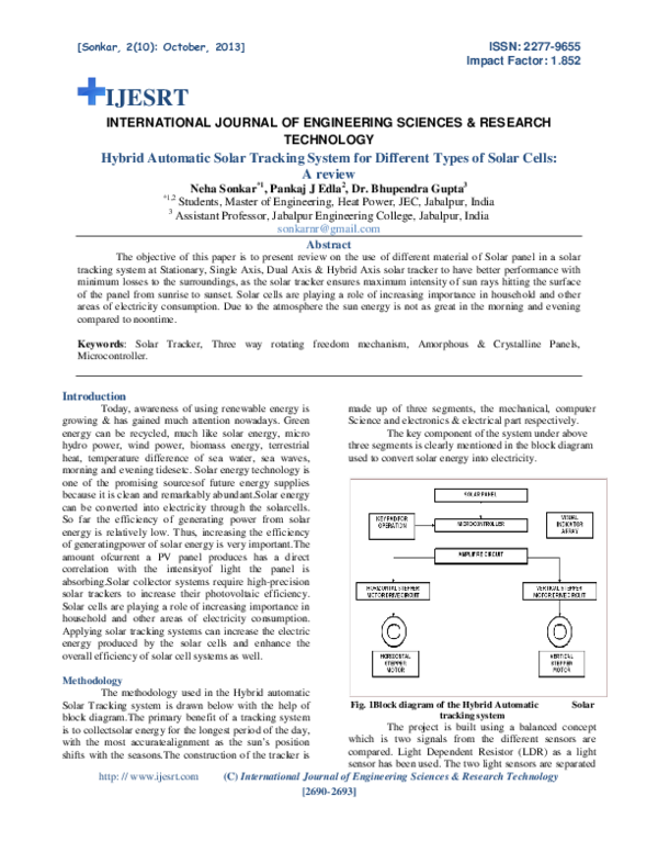 Block Diagram Of Solar Tracker With Explanation