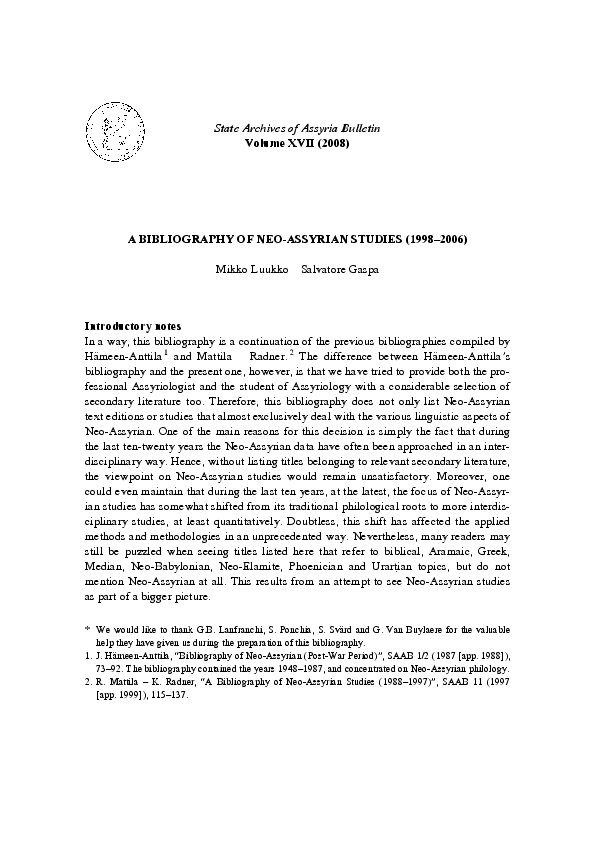 A Bibliography of Neo-Assyrian Studies (1998–2006) | Mikko Luukko