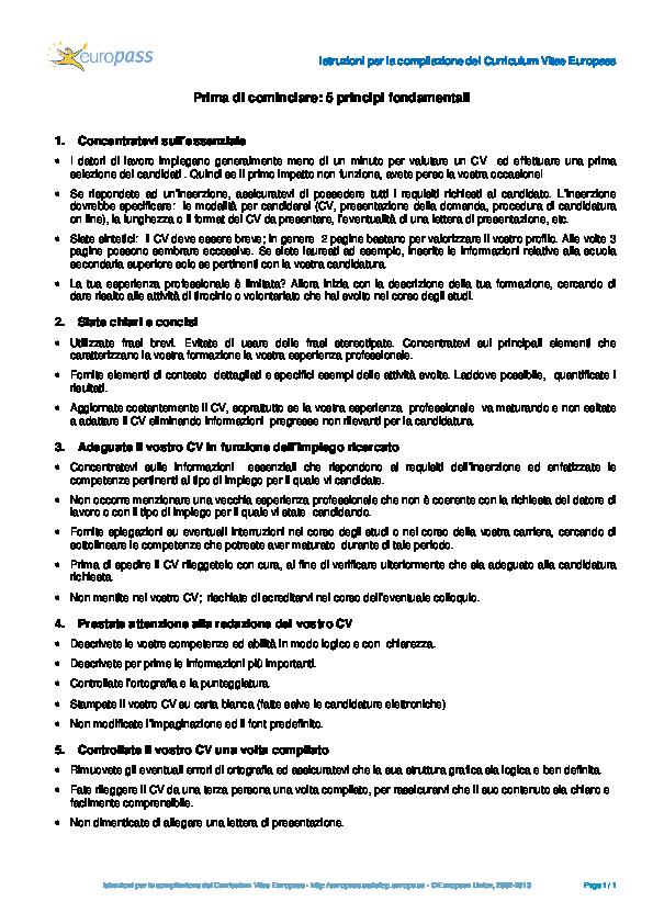 Pdf Istruzioni Per La Compilazione Del Curriculum Vitae Europass Ras Tor Academia Edu