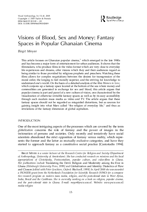 PDF) Visions of Blood, Sex and Money: Fantasy Spaces in Popular