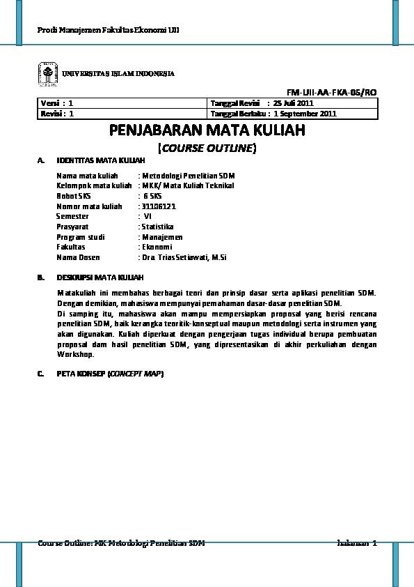 Pdf Prodi Manajemen Fakultas Ekonomi Uii Course Outline Mk Metodologi Penelitian Sdm Halaman 1 Fm Uii Aa Fka 05 Ro Penjabaran Mata Kuliah Course Outline Riyono Pepy Academia Edu