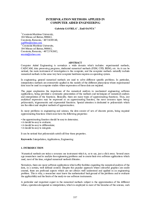 PDF) INTERPOLATION METHODS APPLIED IN COMPUTER AIDED