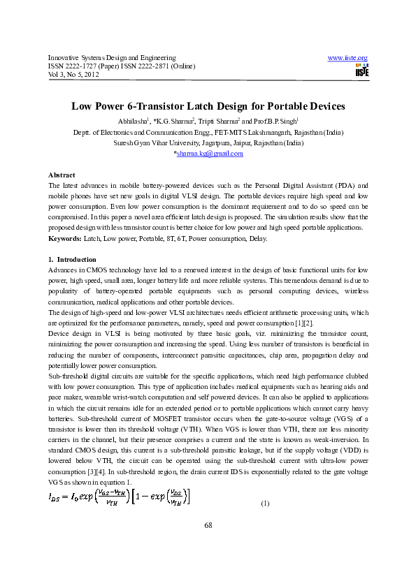 Pdf Innovative Systems Design And Engineering Low Power 6 Transistor Latch Design For Portable Devices K G Sharma Academia Edu