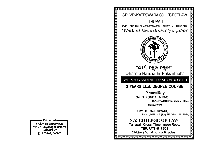 PDF) SRI VENKATESWARA COLLEGE OF LAW, TIRUPATI 3 YEARS LL B  DEGREE
