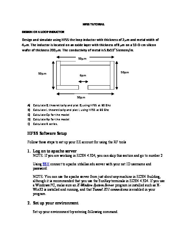 PDF) HFSS TUTORIAL DESIGN OF A LOOP INDUCTOR | SANDIPKUMAR GAJERA