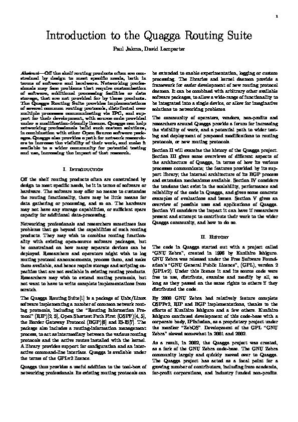 Quagga Tutorial