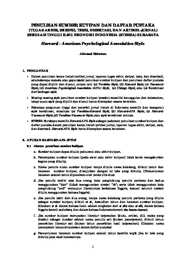 Penulisan Sumber Kutipan Dan Daftar Pustaka Harvard American Psychological Association Style Alex Sander Lumban Gaol Academia Edu
