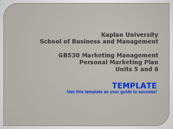 Ppt Gb530 Personal Marketing Plan Template Russell Joyner
