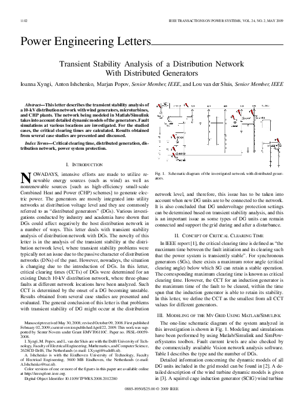 Electrical Distribution System Modeling And Analysis In