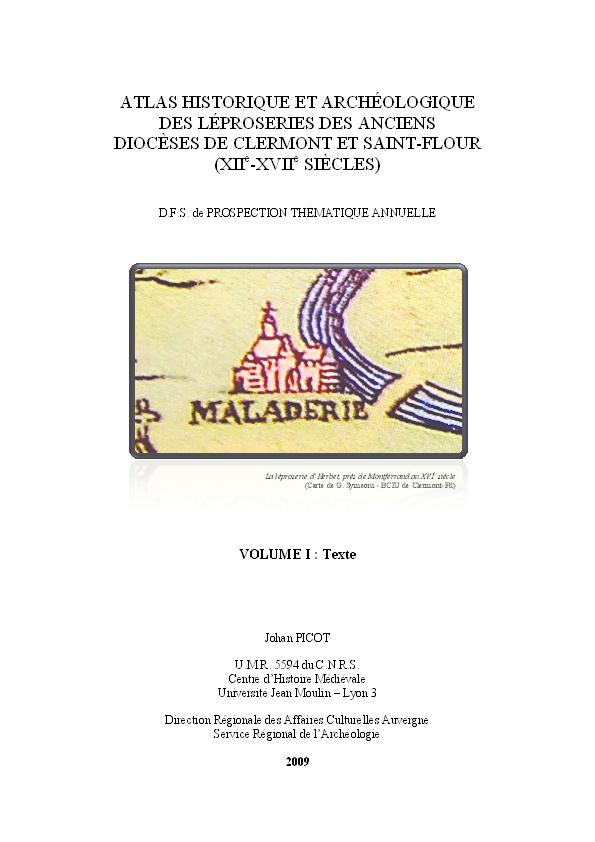 PDF Atlas Historique Et Archeologique Des Leproseries Anciens
